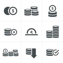 Coins Icons Set, Vector Design...