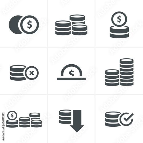 Fototapeta Coins Icons Set, Vector Design black color obraz