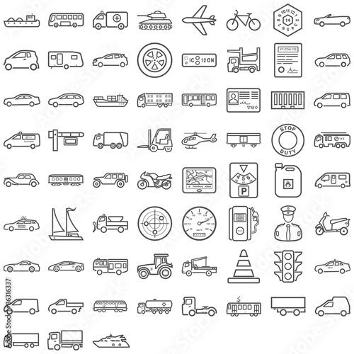 Schwarze Symbole aus dem Transportsektor Fototapete