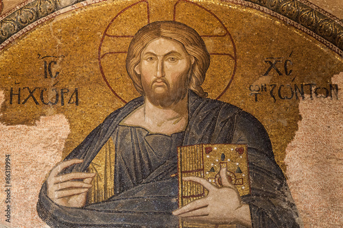 Foto op Plexiglas Wand Mosaic of Christ in The Land of the Living, Chora church, Istanbul, Turkey.