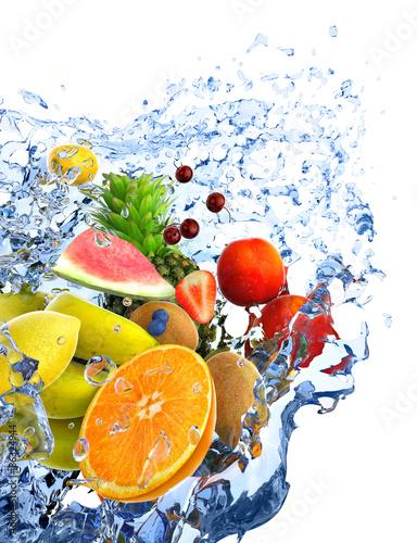 Poster Vruchten fruits and water splash