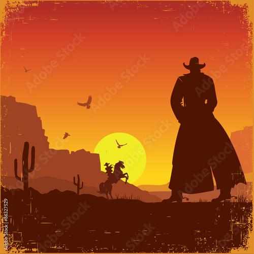 Poster Bruin Wild West american landscape.Vector western poster
