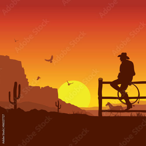 Foto op Plexiglas Bruin American Cowboy on wild west sunset landscape in the evening