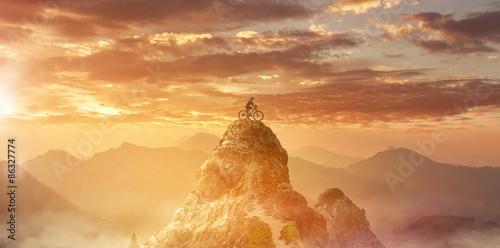 Fotografie, Obraz  Mountainbiker auf Bergspitze