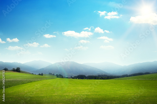 Garden Poster Pool landscape of green meadow with hills