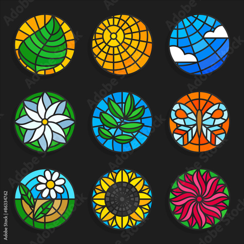 Fotografie, Obraz  Set of stained glass summer icons - Stock vector illustration