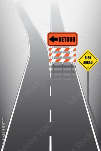 Fotografie, Obraz  Road with detour signs