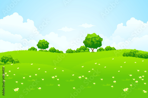 Aluminium Prints Blue Green Landscape with trees