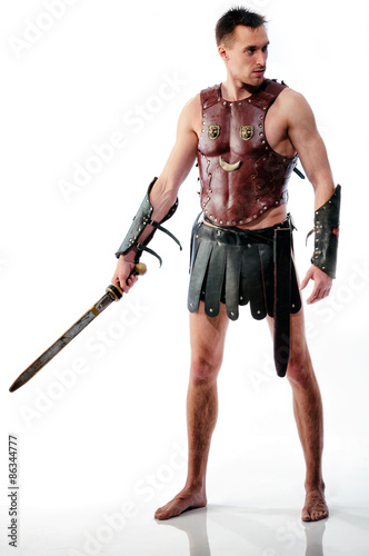 Ancient rome soldier / gladiator with sword isolated on white background Poster