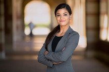 Confident Business Woman With Successful Expression Mixed Race Caucasian Asian Latin Woman