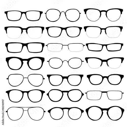 Fotomural Vector set of different glasses on white background.