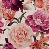 Seamless floral pattern with roses, watercolor. Vector illustrat - 86350728
