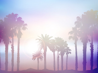 Naklejka Summer palm tree landscape with retro effect
