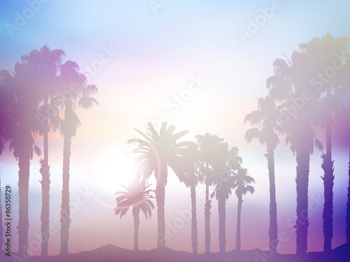 Summer palm tree landscape with retro effect