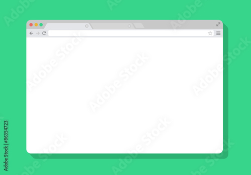 Photo  web Simple Browser window white, green background, flat