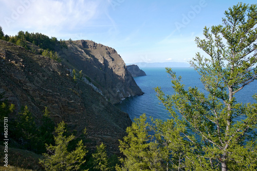 Fotografering  The mysterious island of Olkhon on lake Baikal. The landscape of