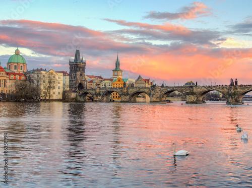 Staande foto Praag Vltava River, Prague