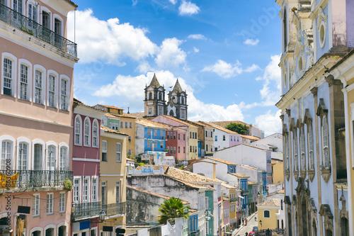 Fotografía  Vista de postal del horizonte colonial del centro histórico de Pelourinho, en Sa