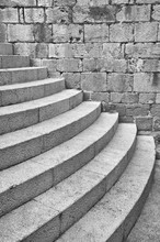 Distinctive Half Round Staircase At The South Entrance To The Dominican Monastery In Dubrovnik, Croatia