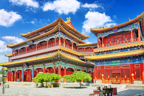 Photo sur Aluminium Pekin Beautiful View of Yonghegong Lama Temple.Beijing. Lama Temple is