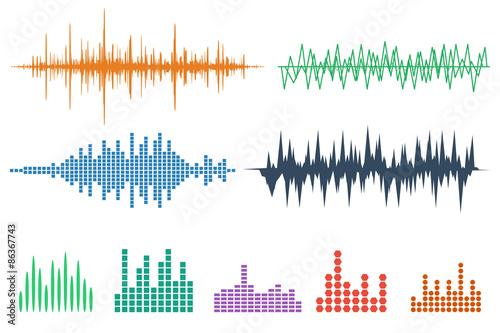 Fotografía  Sound Wave Icon Set. Music soundwave icons set. Equalize audio a