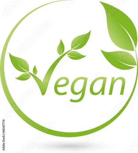 Fotografie, Obraz  Vegetarisches Symbol mit Blättern, Vegan, Logo
