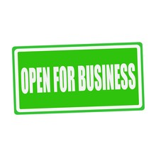 OPEN FOR BUSINESS White Stamp Text On Green