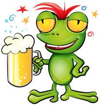 .frog Cartoon With Schooner Beer