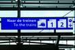 Directional sign to trains in Schiphol International Airport, Amsterdam