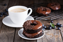 Chocolate Donuts With Coffee And Blueberries