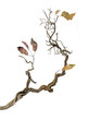 canvas print picture - Dry branch with leaves