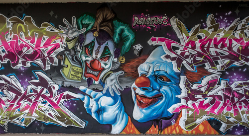 Foto op Plexiglas Graffiti Graffiti Clown in Mainz Kastel