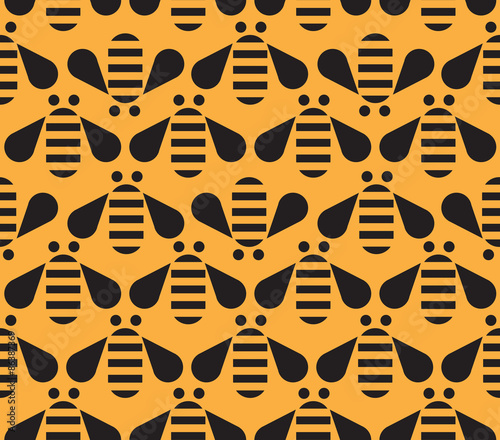 Cotton fabric Bee seamless pattern on Yellow background