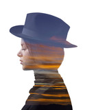 Double exposure of girl wearing hat and colorful sunset - 86388140