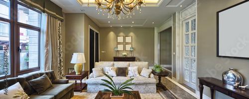 Obraz luxury living room interior - fototapety do salonu
