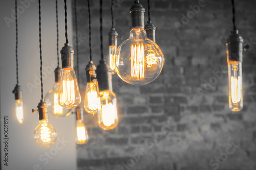 Fotografie, Obraz  Edison Lightbulbs