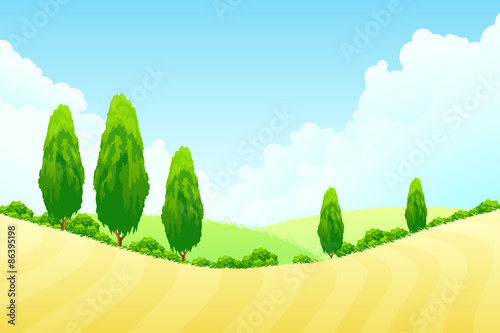 Tuinposter Zwavel geel Landscape with Green trees
