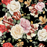 Kwiatowy wzór z różami, akwarela - 86397367