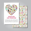 Two sides invitation card design with manicure and pedicure ill
