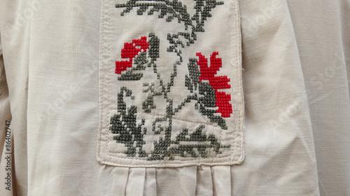Photo  Old cross-stitch - Ukraine, fragment, clothing