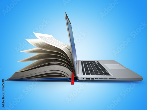 Obraz E-learning. Concept of education. Internet labrary. Book and Lap - fototapety do salonu