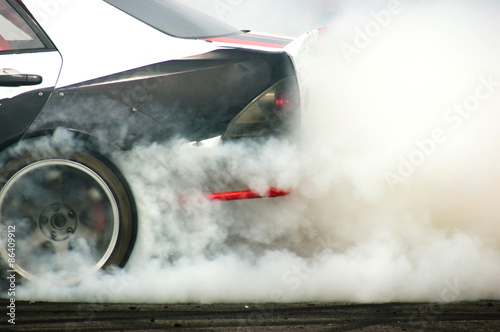 Fotografia, Obraz  Extrem Racing Auto Reifen Rauch
