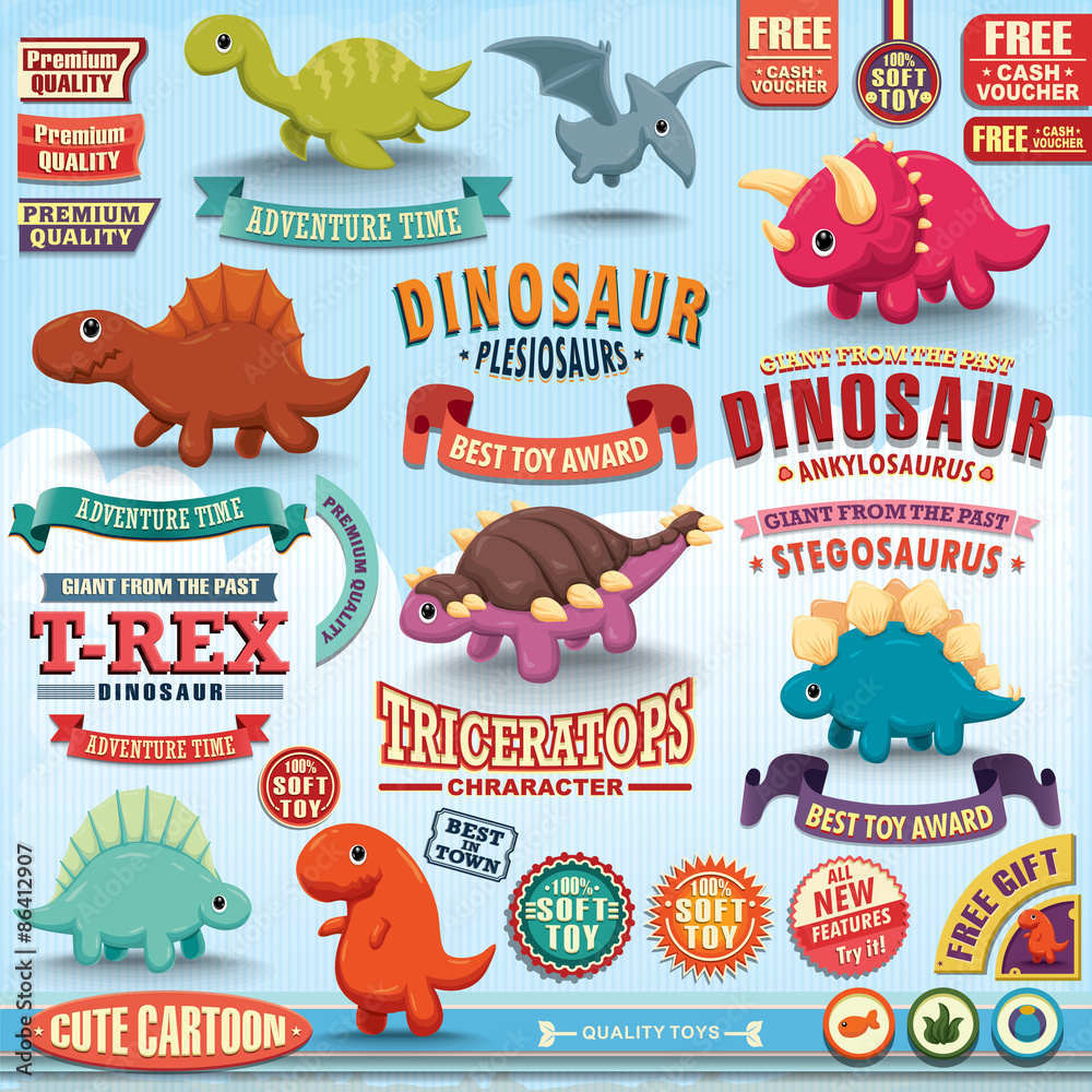 Fotografia  Vintage dinosaur design element set