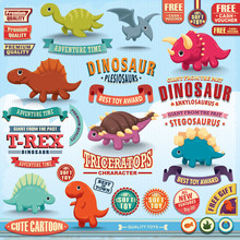 Vintage Dinosaur Design Element Set
