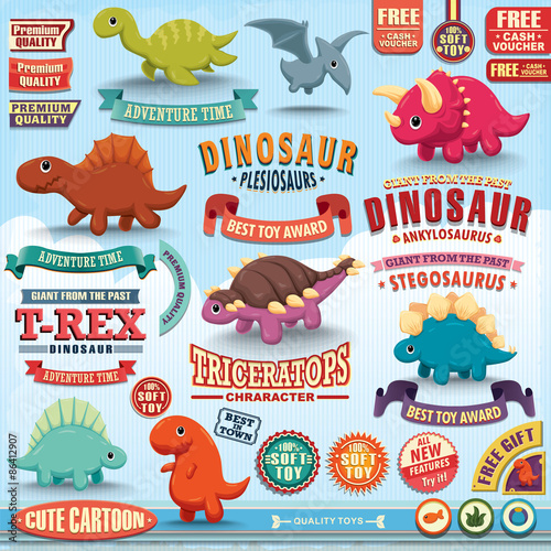 vintage-dinosaur-design-element