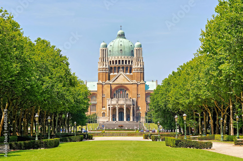 Poster Brussel Koekelberg basilica one of architectural symbols of Brussels, Belgium, view from park Elisabeth