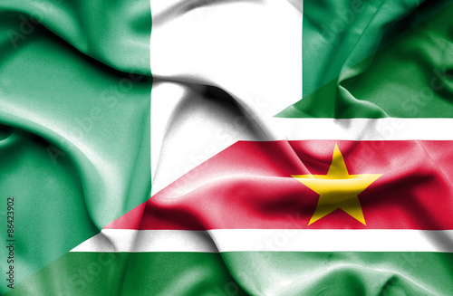 Poster Algérie Waving flag of Suriname and Nigeria