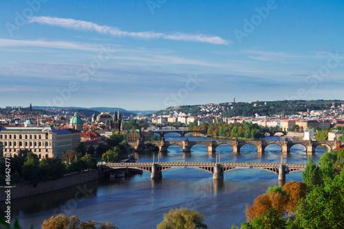 Aluminium Prints Prague Bridges of Prague over VLtava river