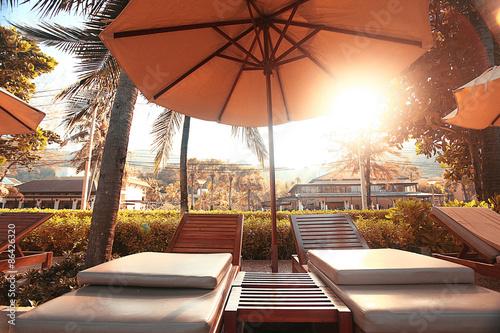 Fotografie, Obraz  hotel lounges palm landscape