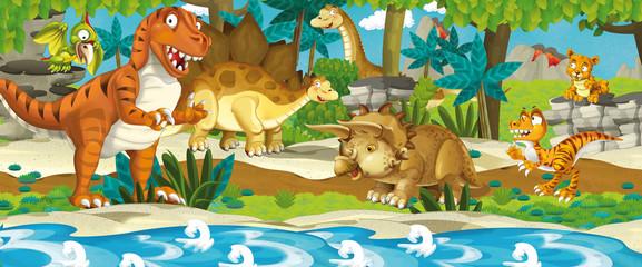 Fototapeta Cartoon dinosaur land - illustration for the children
